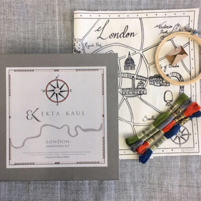 London Embroidery Kit comes with sampler, threads, needles and hoop, ready to be embroidered into a beautiful keepsake