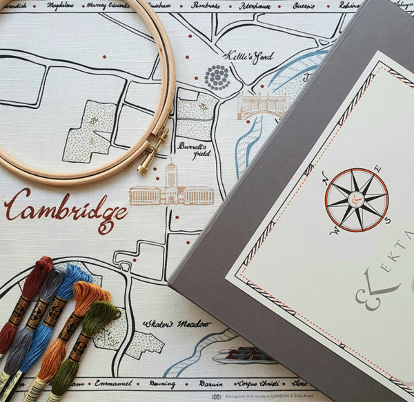 Cambridge Map Embroidery Kit with box