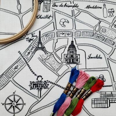 Paris Map Embroidery Kit