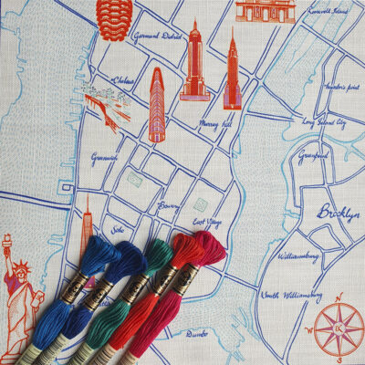 Ekta Kaul New York Map Embroidery Kit Lower Manhattan