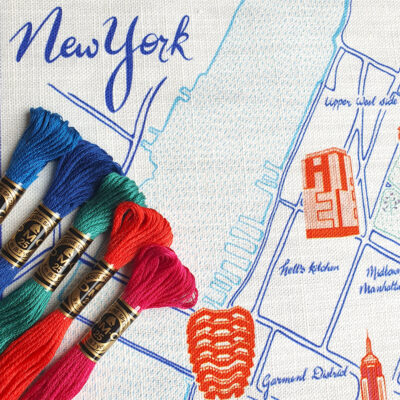 Ekta Kaul New York Map Embroidery Kit-with threads
