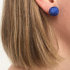 Model Wearing Cobalt Blue Ear Studs
