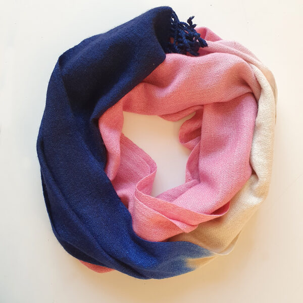Handwoven Cashmere Scarf-Chelsea-Pink-navy