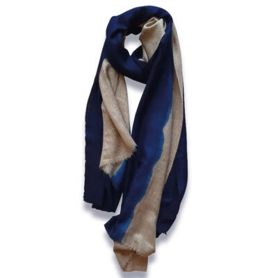 Handwoven Cashmere Scarf Sloane- Blue and beige