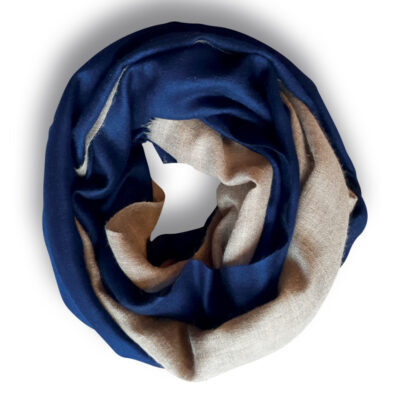 Handwoven Cashmere Scarf Blue and beige